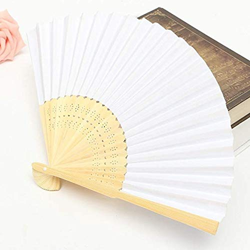 Folding Paper Bamboo Handheld Fan - 50 Pack Hand Held White Foldable Paper Folded Fan for Church Wedding Gift Party Favors DIY Decoration