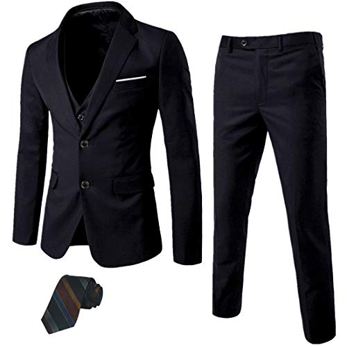 MY'S Men's 3 Piece Slim Fit Suit Set, 2 Button Blazer Jacket Vest Pants with Tie, Solid Wedding Dress Tux and Trousers, Black, L, 5'9-6'3, 175-190lbs
