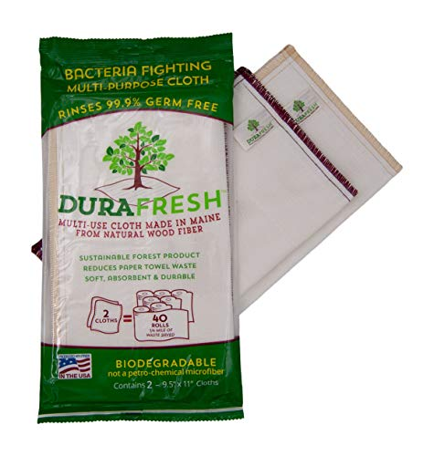 Durafresh reusuable Cleaning Cloth. Rinse Away 99% Germs & Odor. Wood Pulp eco-Fiber for Everyday use on counters, appliances, Walls (2-Count)