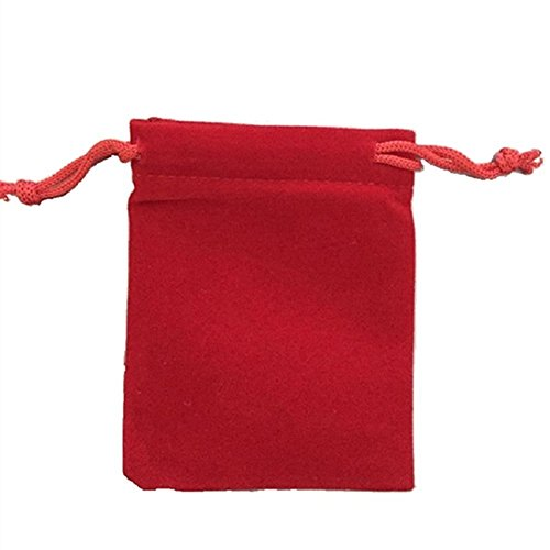 KUPOO 50 Pieces Wholesale Lot - Red Velvet Cloth Jewelry Pouches/Drawstring Bags 3' X 4'
