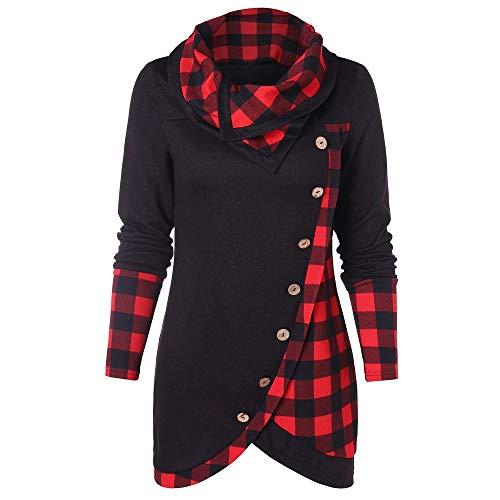 Lightning Deals Women Blouse, ZYooh Long Sleeve Button Plaid Turtleneck Tartan Tunic Tops Sweatshirt (XXXL, Red_B)