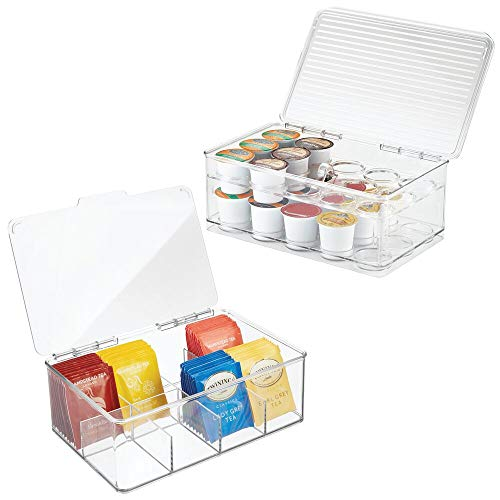 mDesign Stackable Kitchen Box Organizers for Coffee Pods, Tea Bags - Set of 2, Divided, Clear
