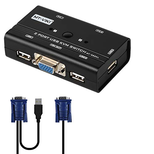2 Port USB VGA KVM Switch with 2 Cables, Selector Switcher for 2PC Sharing One Video Monitor and 3 USB Devices, Keyboard, Mouse, Scanner, Printer