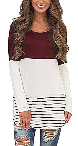 Chvity Women's Casul Long Sleeve A Line Tunic Tops Loose Color Block T Shirt Dresses Tops Wine Red