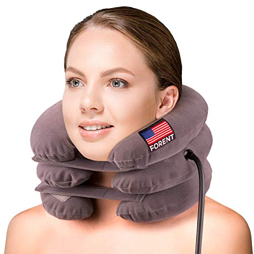 Inflatable Cervical Neck Traction Device & Collar Brace, USA Designed, Best for Neck Support & Instant Relief for Chiropractic Chronic Neck Pain, Spine Alignment, Adjustable Pillow Size, (Universal)