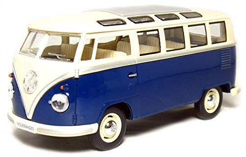 Brand New KINGSMART 1/24 Scale Car Toys 1962 Volkswagen Classic Hippy Bus Blue Diecast Metal Pull Back Car Toy For Gift Loose