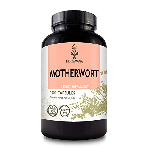 Motherwort 100 Capsules 500 mg | Filled With Organic Motherwort Herb | Supports Heart Health | Blood Pressure Support | Anxiety and Stress Relief | Women's Health Supplement | Kidney Support | Non-GMO