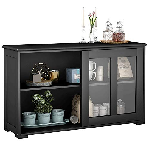 Kitchen Storage Cabinet, Stackable Buffet Storage Sideboard with Sliding Door Home Furniture, Elegant Black, by Waterjoy (Brown Wood Door)