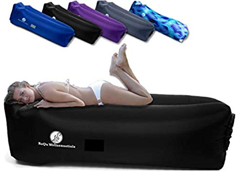 Inflatable Air Couch Lounger Sofa, Chair, Hammock, and Bed - Fun & Easy Inflating and Anti-Deflate Technology Best for Traveling, Camping, Picnic, Hiking, Festival, & Beach (Classic Black)