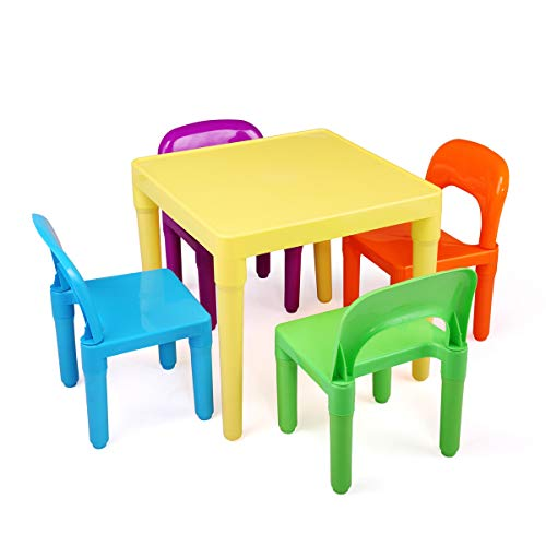 BWM.Co Kids Platic Table Set w/ 4 Chairs Play Round Tbale for Toddler Ages 27 Months and Up