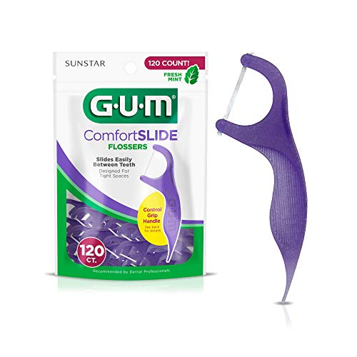 GUM Comfort Slide Flossers for Tight Spaces, Fresh Mint, Dental Floss Picks, 120 Count