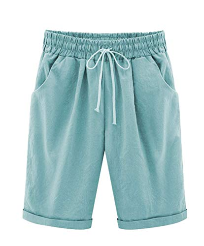 Vcansion Women's Loose Elastic-Waisted Bermuda Drawstring Casual Shorts Turquoise Asian XL/US 4-6