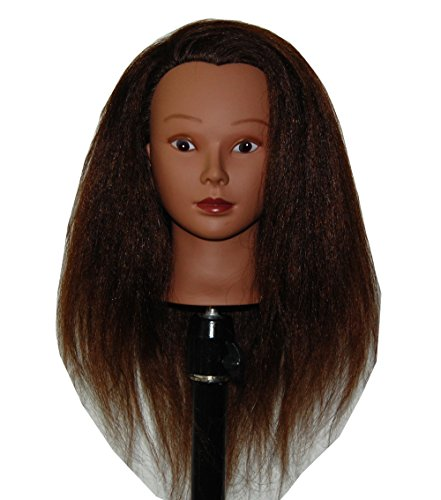 Afro Coarse 100% Real Hair Mannequin Head Hairdresser Training Head Manikin Cosmetology Doll Head (YAKI-K)