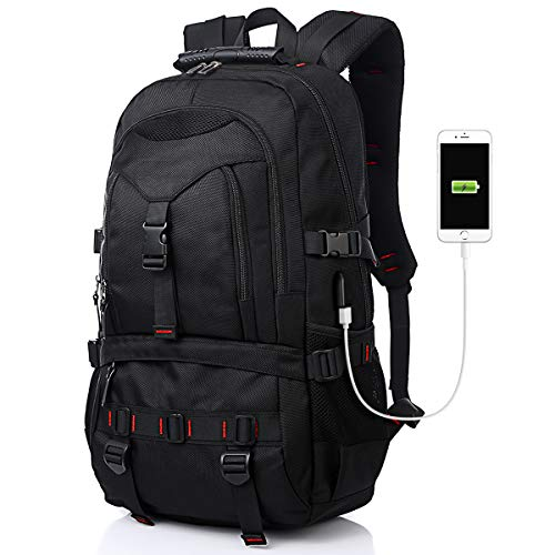 Tocode Laptop Backpack with USB Charging Port & HeadphonePort, 17-Inch Fashional Computer School Backpack Water Resistant Business Bag Black Anti-theft Travel Backpacks for Men Women