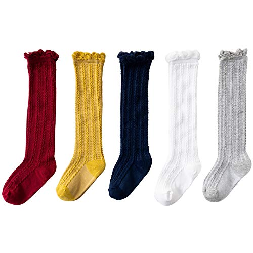 Jastore 5 Pairs Unisex Baby Girl Boy Lace Stocking Toddler Knit Knee High Cotton Socks (1-3T, A-Mixed Color-5 Pairs)