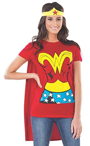 Rubies Women's DC Comics Wonder Woman T-Shirt with Cape and Headband, Red, Large