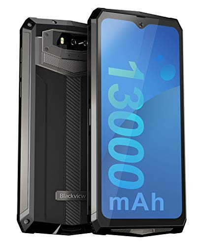 Unlocked Rugged Smartphones, Blackview BV9100 4G LTE 13000mAh Battery Rugged Cell Phones Android 9.0 IP68 Waterproof Drop Proof, 6.3' Screen 4GB+64GB Octa-core Dual SIM for GSM AT&T T-Mobile, Black