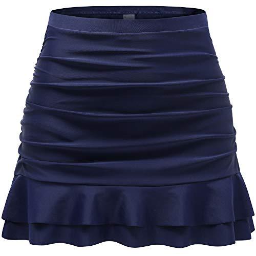 Tournesol Women's Plus Bathing Suit Bottom High Waist Tankini Swim Skirt Navy Bikini Swimwear Short