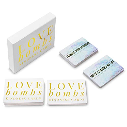 Love Bombs - 111 Gold Embossed Kindness Cards, Sincere Words of Appreciation, Compliments, Gratitude, Admiration & Encouragement to Strengthen Relationships & Overcome Shyness & Insecurity