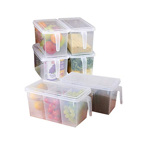 MineSign Plastic Storage Containers Square (Set of 4) And Handle Food Storage Organizer Boxes with Lids (Set of 2 Organizers with Lid and 6 Removable Bins)