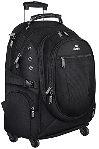 Rolling Backpack, Matein College Wheeled Backpack for Women, Men, Roller School Backpack for Girls, Boys Adults, Travel Laptop Backpack with Removable Wheels Business Bag fit 15.6 inch Notebook, Black