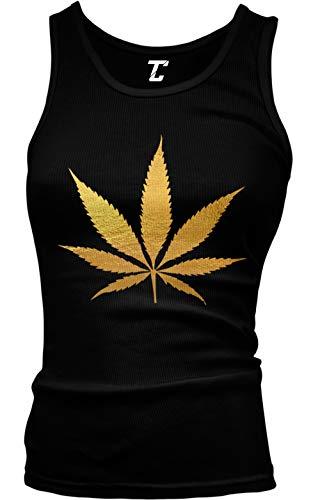 Gold Marijuana Leaf - Weed Stoner Pothead Juniors Tank Top (Black, Large)