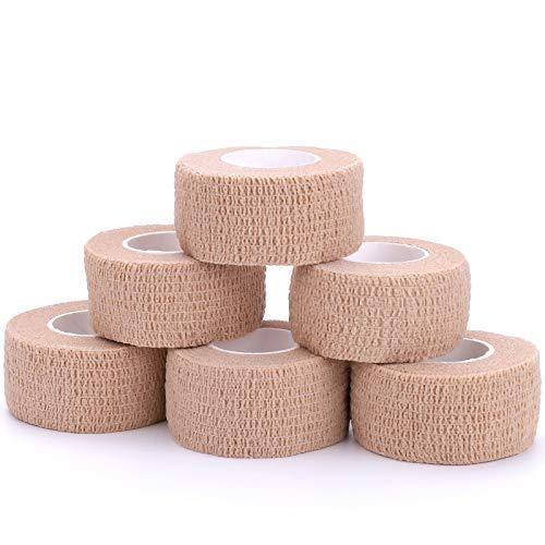 Self-Adhesive Cohesive Wrap Bandage Flexible Stretch Tape Athletic Strong Elastic First Aid Tape for Wrist, Ankle Sprains, Swelling 6 Packs, 1Inch X 5Yards
