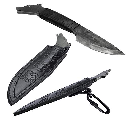 Toferner Original Gift-Knife - Wolf -Black- Hand Forged Knife - Sports- Hand Polished & Hardened Blade Beautiful Product. Total Length 9.05 inch.