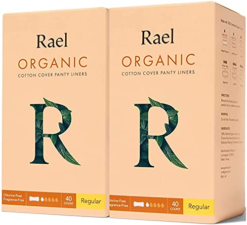 Rael Certified Organic Cotton Liners - Natural Daily Panty Liners, Unscented, Chlorine Free, Light Absorbency, Regular (80 Count, Pack of 1)