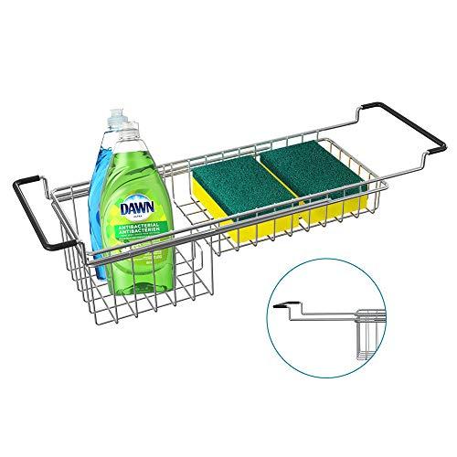 Sink Caddy Sponge Holder Sponge Organizer Caddy Rag Detergent Brush Dishwashing Liquid Rack Expandable 14-3/4' to 20' Stainless Steel