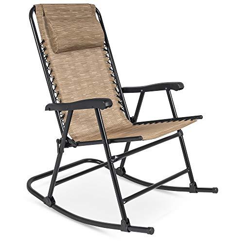 Best Choice Products Foldable Zero Gravity Rocking Mesh Patio Lounge Chair w/Headrest Pillow - Beige