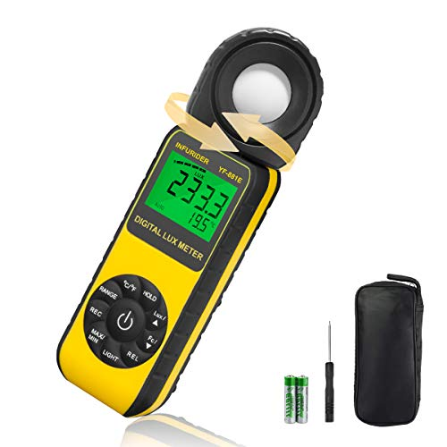 INFURIDER Digital Illuminance Light Meter with 300,000 Lux Foot Candles Luxmeter and 270 Degree Rotatable Detector for Indoor Plants Lighting and Photography Measurement