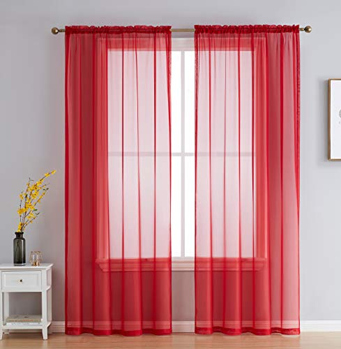 HLC.ME Red Sheer Voile Window Treatment Rod Pocket Curtain Panels for Kitchen, Bedroom and Living Room (54 x 84 inches Long, Set of 2)