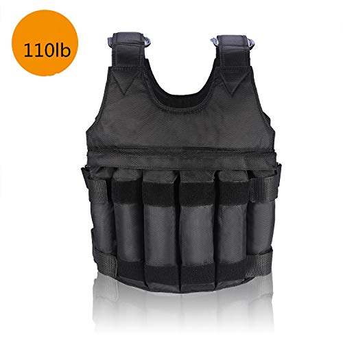 Weighted Vest, 50kg Filled Adjustable Workout Weighted Vest for Exercise Strength Training Fitness, No Weight (Black)