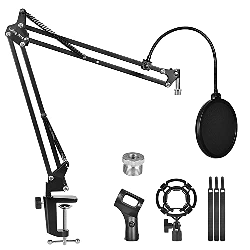 Microphone Stand for Blue Yeti,Boom Arm Scissor Mic Stand with Windscreen and Double layered screen Pop Filter Heavy Duty Mic Boom Scissor Arm Stands,Broadcasting and Recording