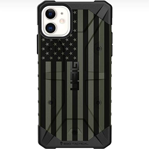 Limited Edition Designs by Ego Tactical on a UAG Urban Armor Gear Case for Apple iPhone 11 & Xr (6.1' 2-Camera Phone)- USA Flag ODG- Olive Drab Green