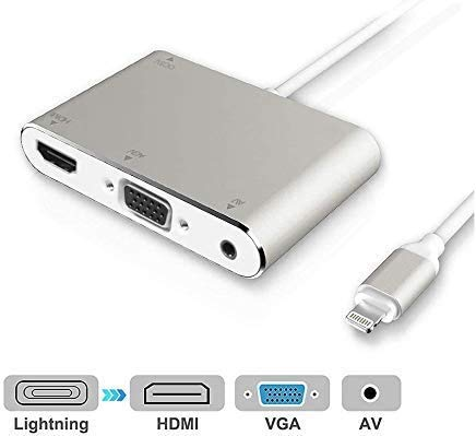 HDMI VGA AV Adapter Converter, 2020 Latest 4 in 1 Plug and Play Digtal AV Adapter Compatible for iPhone X / 8 / 8Plus/7/7Plus/6/6s/6s Plus/5/5s iPad iPod to Projector HDTV Projector Monitor