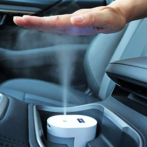 Small Touchless Alcohol Sanitizer Mister w/USB-C Rechargeable - Fits Car Cupholder, Disinfect Hands/Phone/Keys, Soft Nano Mist Spray, No Residue, Automatic Dispenser, 100 mL Tank