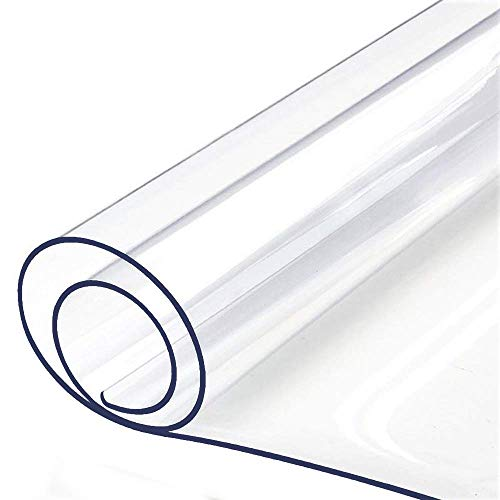 Table Protector Tablecloth Protector Clear Plastic Tablecloth Waterproof Wipeable Vinyl PVC for Rectangle Dining Tables Mat Pad Furniture Protector Good for 42' or 44' x 96 Inch Table 110 X 243 CM