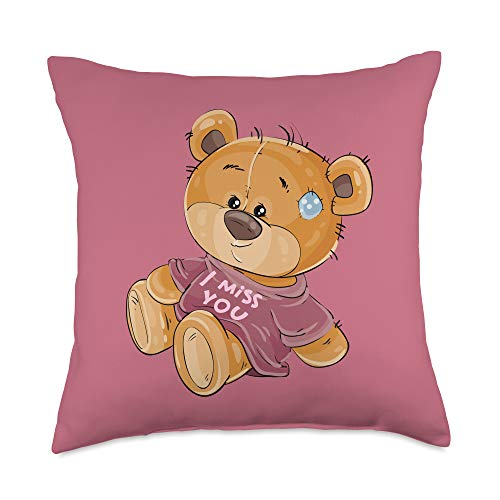 Cute I Miss U Gift For Her Cute Bear Wearing I Miss U. Perfect Valentine's Day Gift Throw Pillow, 18x18, Multicolor