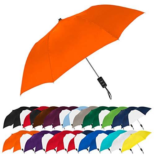 STROMBERGBRAND UMBRELLAS Spectrum Popular Style Automatic Open Small Light Weight Portable Compact Travel Folding Umbrella for Men and Women, (Orange)