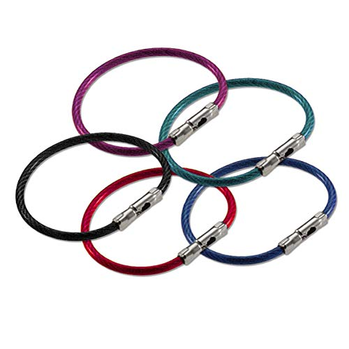 Lucky Line 5' Flex-O-Loc Cable Key Ring, Galvanized Steel, Corrosion-Resistant, Assorted Colors, 5 Pack (7110005)