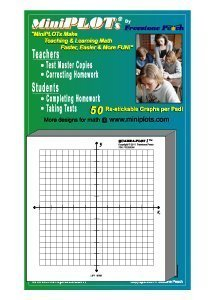 MiniPLOT adhesive backed Graph Paper for Algebra: Five count - 3' x 3' pads - X Y axis coordinate grid templates printed on Post-It pads. 50 graphs per pad. Grid = 20x20 units. Use for homework!