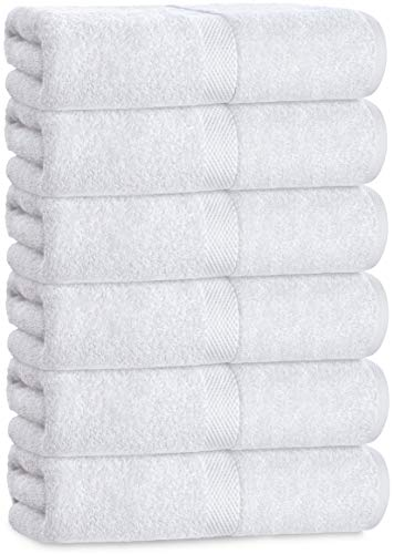 Luxury White Hand Towels - Soft Circlet Egyptian Cotton | Highly Absorbent Hotel spa Bathroom Towel Collection | 16x30 Inch | Set of 6