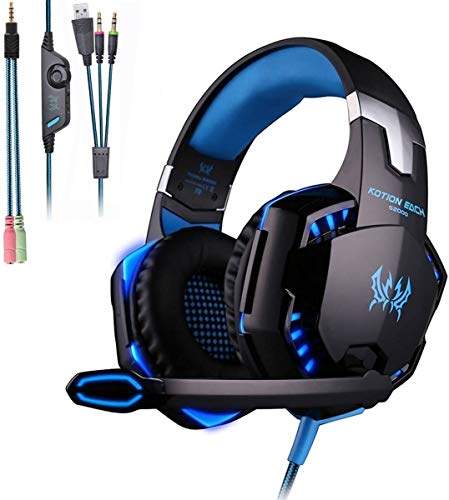 KOTION Each G2000 Xbox Series X Headset,PS5&PS4 Headset with Microphone,Xbox Headset with Noise Canceling Mic&Led Light,PC Headset with 7.1 Bass Surround Sound,Nintendo Switch Headset with Mic-Blue