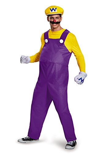 Disguise Men's Super Mario Wario Deluxe Costume, Yellow, X-Large