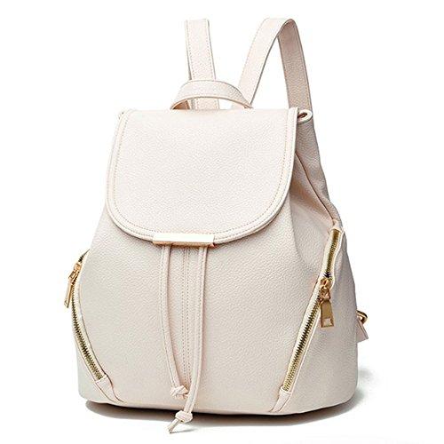 Backpack Purse Women PU Leather Fashion Drawstring Casual Anti-theft Ladies Flap Backpacks Travel Rucksack(Beige)