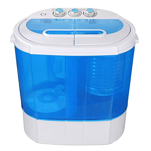 HomGarden Portable Washing Machine, Spin Dryer-Compact Twin Tub Durable 9.9lbs Mini Laundry Washer/Spinner, Lightweight for Apartments, Dorms, RV Camping Swim Suit Spinner Dryer, Blue