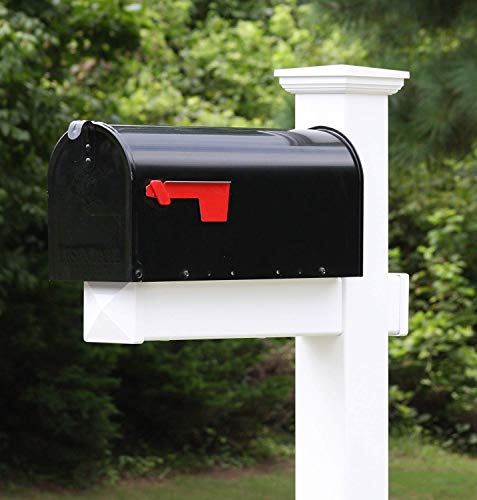 The Fillmore Vinyl/PVC Mailbox Post (Includes Mailbox) Complete Decorative Curbside Mailbox System with Classic Traditional Style (Black Mailbox)