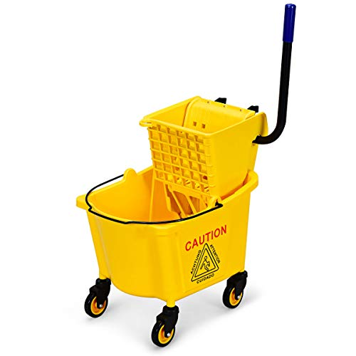 GOPLUS Commercial Mop Bucket with Side Press Cleaning Wringer, Portable Trolley On Wheels, Ideal for Household and Public Places Floor 26 Quart Capacity, Yellow